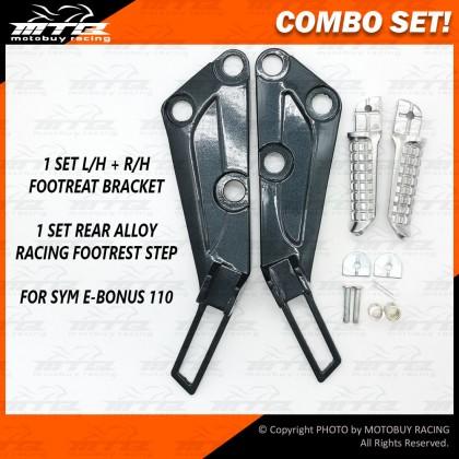 COMBO SET! RACING ALLOY FOOTREST STEP & FOOTREST BRACKET FOR SYM E-BONUS 110